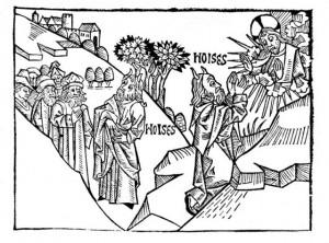 Moses mit Hörnern in einer Bibel um 1475