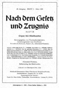 Bild von der Erstausgabe der Zeitschrift nach dem Krieg im Jahre 1950